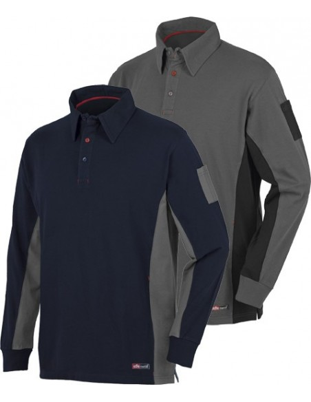 Polo Stretch M/Larga Gris/Ngr.8173 T-Xxl